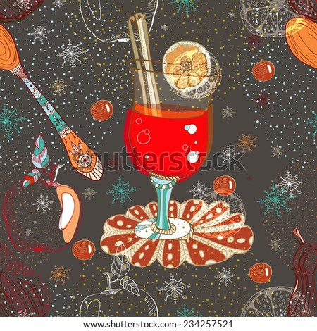 Seamless doodle background with mulled warm wine for design, Christmas traditional drink - stock vector