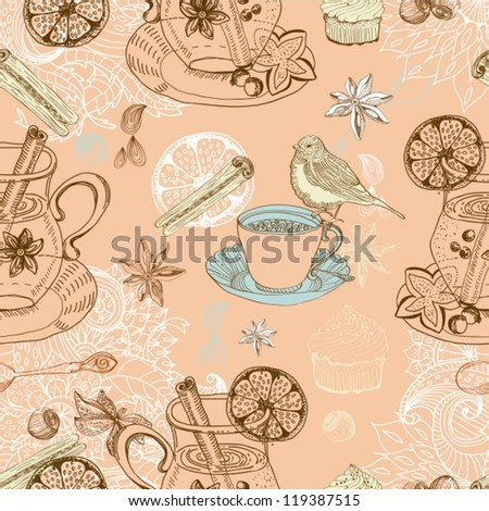 Seamless doodle background with mulled warm wine, tea cup, bird, vector - stock vector