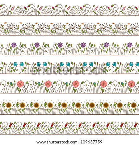Seamless Doodle Border and Frame Elements Floral - stock vector