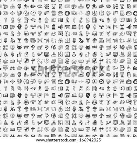 seamless doodle business pattern - stock vector
