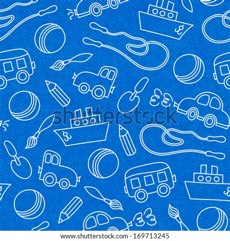 Seamless doodle children toys of scoop bucket and ball pattern vector illustration - stock vector