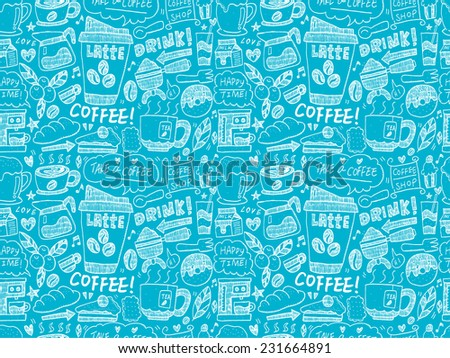 seamless doodle coffee pattern - photo #14