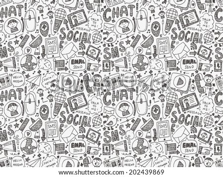 seamless doodle communication pattern - stock vector