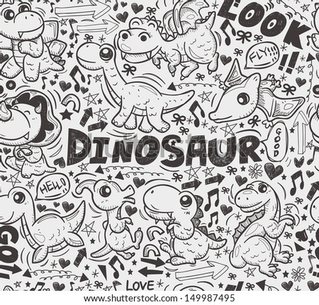 seamless doodle dinosaur pattern - stock vector