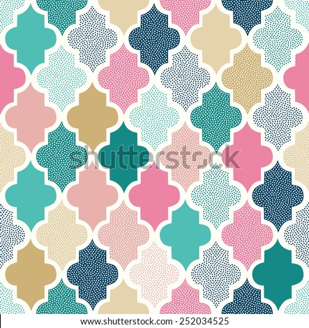 seamless doodle dots geometric pattern - stock vector