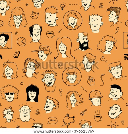 Seamless Doodle Faces Pattern. Funny People Heads. Vector Illustration for Cover Design. - stock vector