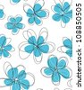 Seamless doodle floral pattern - stock vector