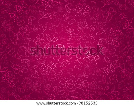 Seamless doodle floral pattern. Background with flower and butterflies on pink backdrop. EPS8 - stock vector