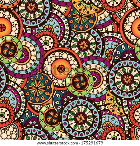 Seamless doodle flower background in vector. Circles ethnic floral pattern. Used Clipping mask for easy editing. - stock vector