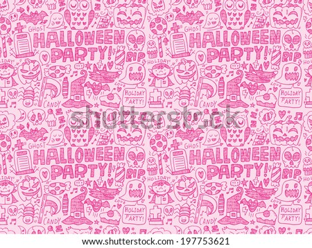 seamless doodle halloween holiday background - stock vector