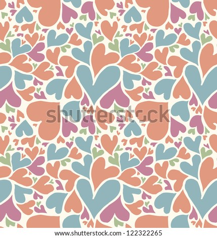 Seamless doodle hearts pattern. - stock vector