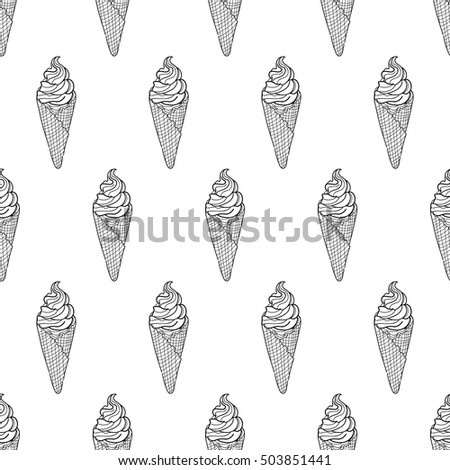 Seamless Doodle Ice Cream Cone Pattern Stock Vector 503851441 ...