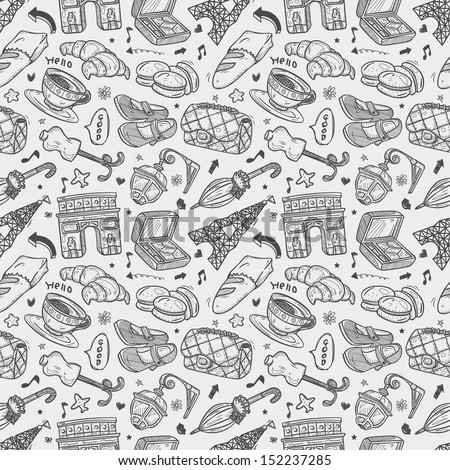 seamless doodle Paris pattern - stock vector