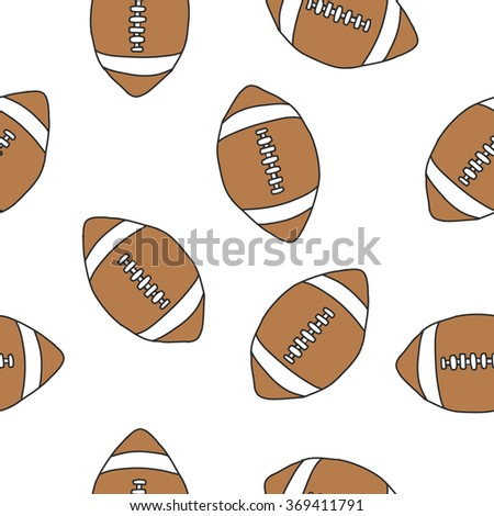 seamless doodle pattern. American football ball. vector illustration