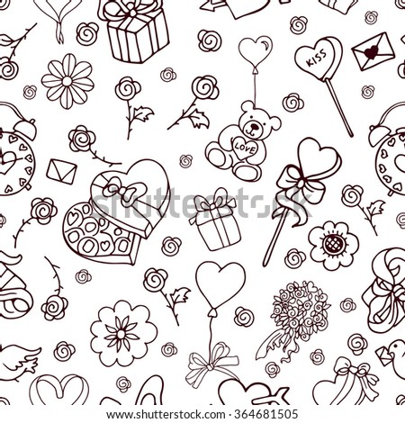 Seamless doodle pattern for valentines day with presents, balloons, bow, rose, hearts, toys in black and white colors