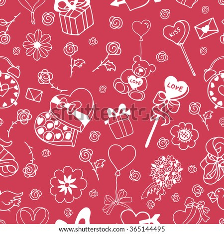 Seamless doodle pattern for valentines day with presents, balloons, bow, rose, hearts, toys on pink background