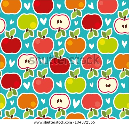 Seamless doodle pattern with colorful apples and hearts - stock vector