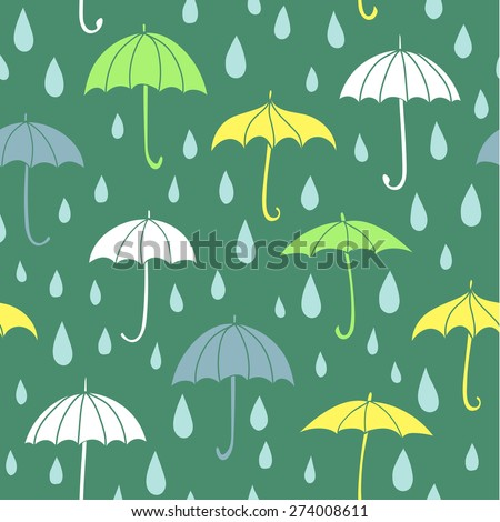 Seamless doodle pattern with colorful umbrellas and raindrops.