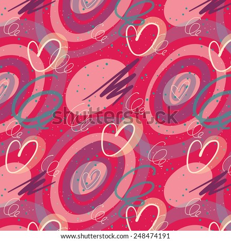 Seamless doodle pattern with curl and hearts on bright pink background. for decoration wedding or saint valentines day card or invitation. seems like hand-drawing with ink pen and transparent marker - stock vector