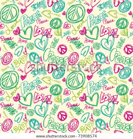 seamless doodle peace love words repeat - stock vector