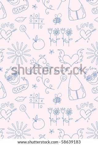 Seamless doodle school pattern for girls, vector illustration - stock vector