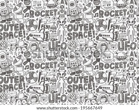 seamless doodle space pattern - stock vector