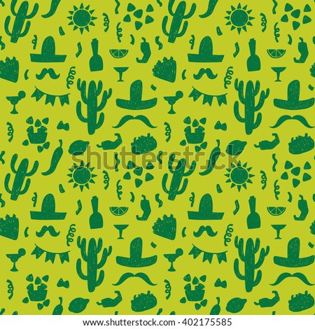 Seamless doodle vector pattern with mexican festive symbols silhouettes: foods, cactus, sombrero, pepper. - stock vector