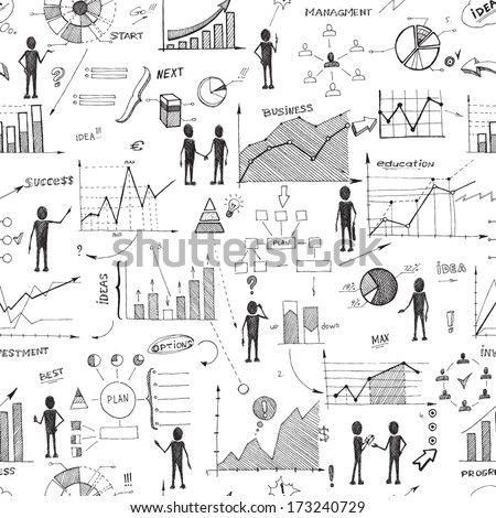 Seamless doodle web infographics background vector illustration - stock vector