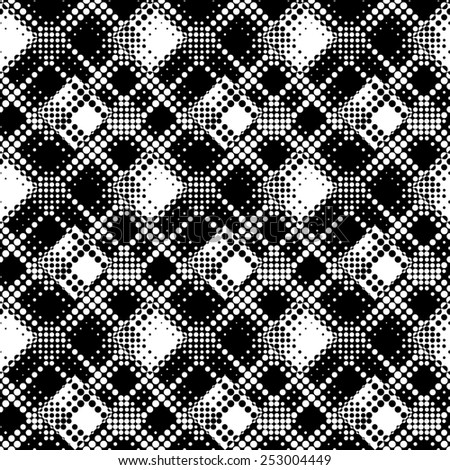 Seamless Dot Pattern. Abstract Black and White Background. Vector Regular Texture