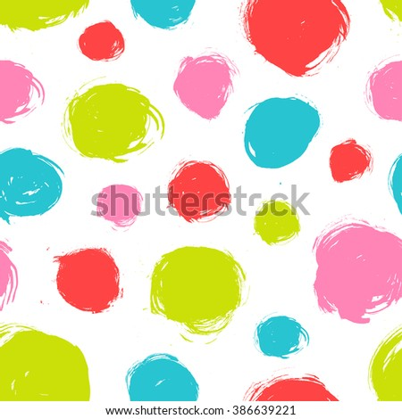 Seamless dot pattern. Hand painted circles with rough edges. Dry brush ink illustration.