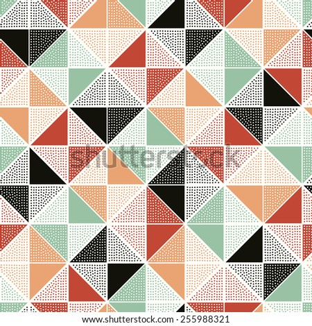seamless dots geometric triangle pattern - stock vector
