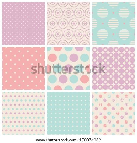 seamless dots patterns - stock vector