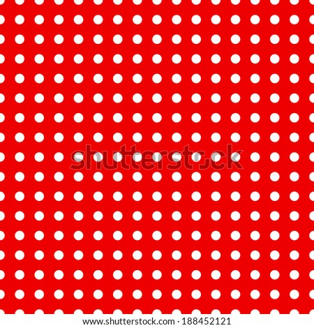 Seamless dotted pattern in red and white colors - stock vector