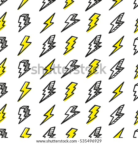 Seamless drawing pattern with thunderbolts