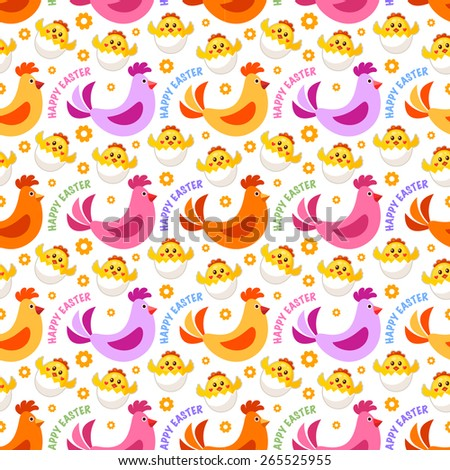 Seamless Easter background with Easter chicks and chicken - stock vector