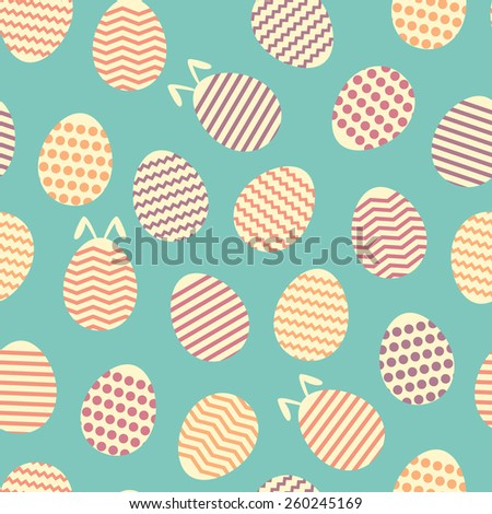 Seamless easter egg spring blue bunny pattern - stock vector