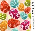 seamless easter multicolor eggs - stock vector