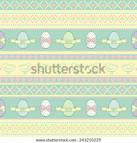 Seamless Easter pattern, card.  Vector background with Easter chicks, decorative eggs, hearts and bows. - stock vector