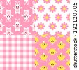 Seamless Easter pattern set in pink color. Good for girls. - stock vector