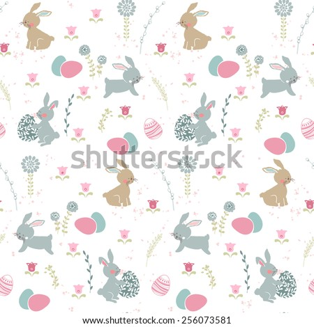 seamless easter pattern with bunnies and eggs - stock vector