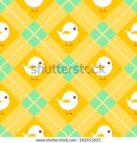 Seamless Easter pattern with chicks on orange gingham - stock vector