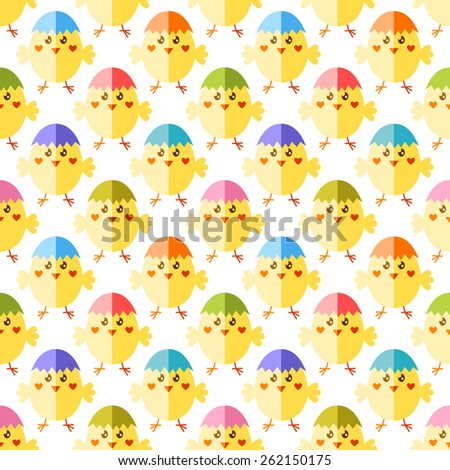 Seamless Easter pattern with cute yellow chicks and colorful egg shaped cap - stock vector