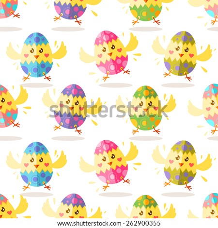 Seamless Easter pattern with cute yellow chicks in broken Easter eggs - stock vector