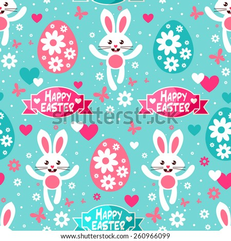 Seamless Eastern pattern with cute white bunnies, Easter eggs,ribbons, flowers and butterflies - stock vector