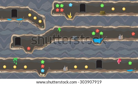 Seamless editable horizontal background with tunnel for platform game - stock vector