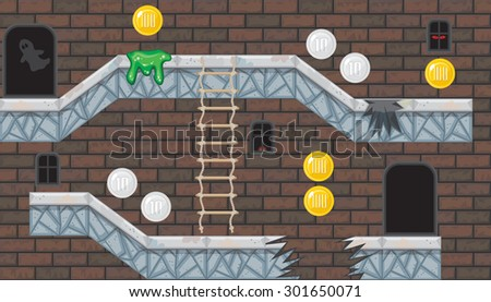 Seamless editable horizontal indoor background with coins and brick wall for platform game - stock vector