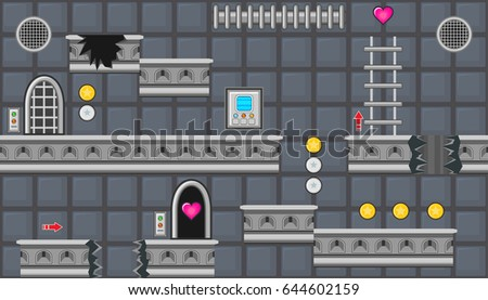 Seamless editable horizontal indoor background with rounded doors and ladder for platform game