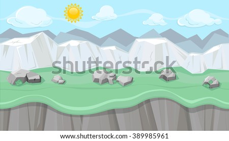Seamless editable mountainous horizontal background with stones and chalk hills for video game - stock vector