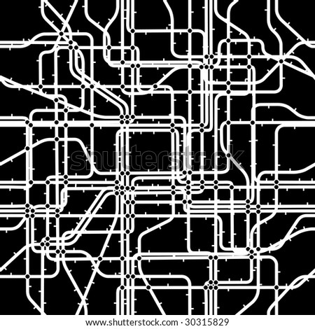 Seamless editable vector tile of a network with nodes - stock vector