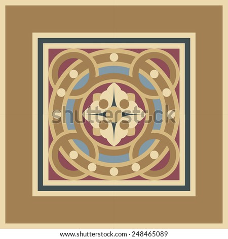 Seamless editable vintage ornamental mosaic tile pattern in frame in ocher, brown, black, red, blue colors. The main element is a flower in circles. - stock vector
